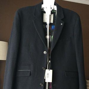 CAVANI 3/4 Long Overcoat Jacket, Navy. Size 40R